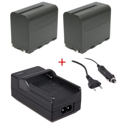 2 x Accu NP-F970 + accu-lader voor LED-lampen en div. Sony videocamera's