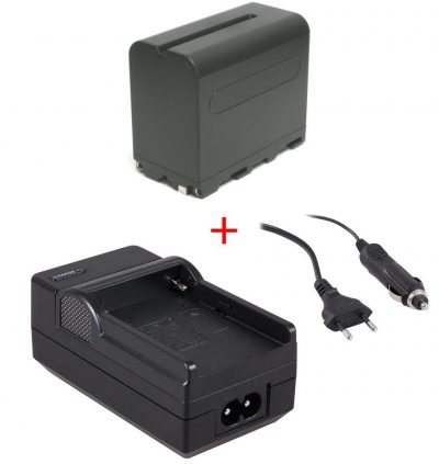 Accu NP-F970 + accu-lader voor LED-lampen en div. Sony videocamera's